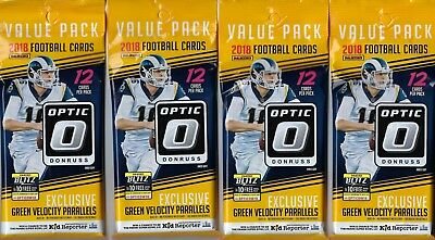 (4) 2018 Donruss OPTIC Football NFL Trading Cards 12c FAT PACK LOT=GreenVelocity