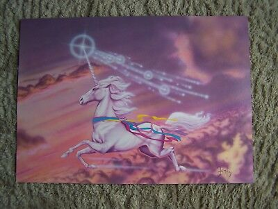 """Unicorn Art Posters NEW (Set of 4) Size 19"""" x 13.5"""" 1985 to 1988 VINTAGE"""