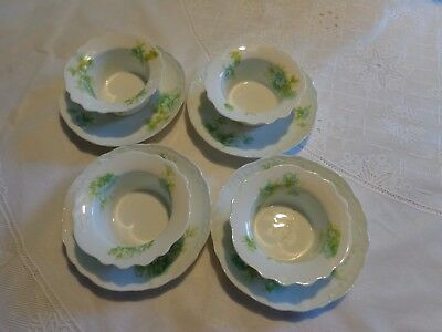 Set of 4 Coronet Limoges France Dessert Cups and Plates Floral Pattern 8 pieces