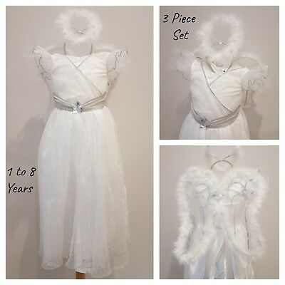 Girls Angel Fancy Dress Costume White Outfit Christmas Xmas Nativity Halo Wings