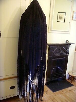 Vintage Large Hand Embroidered Silk Chinese Jet Black Reversible Piano Shawl Vgc