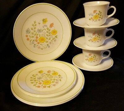 Corelle Spring Meadow 4 Dinner & 3 Luncheon Plates 3 Cups/4 Saucers VERY GOOD