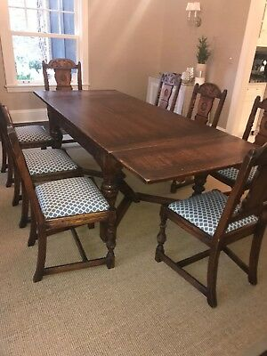 Vintage Antique Solid Oak Wood Dining Room Set