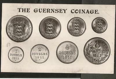 """MBJ 1913 Postcard, """"The Guernsey Coinage"""" 1911"""