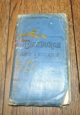 Antique Gall And Inglis Half Inch Map Scotland Edinburgh District Late 1800'S