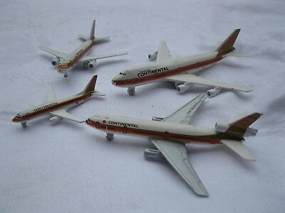 4 Used Diecast CONTINENTAL Airliners (747 DC 10 Airbus 737-300) SHIPS FREE 2 US!