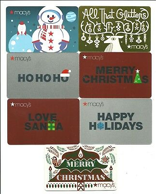 Lot of (7) Macy's Winter Holiday Gift Cards No $ Value Collectible Christmas