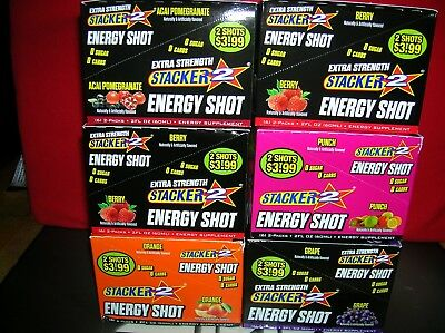 72-Stacker 2 Energy Shot-U Pick Flavors-Guaranteed Fresh-Save $$