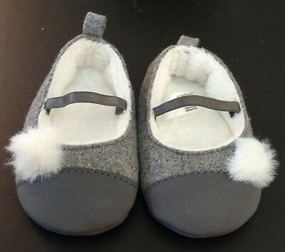 Baby Girl Gray Felt Faux Fur Party Holiday Slipper Shoes Carter's -  0-3 mos