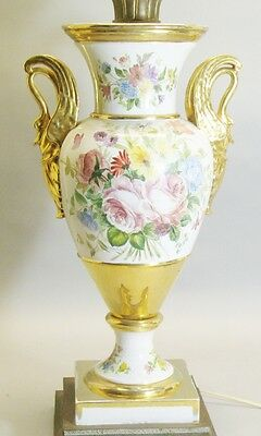 "Fine 21"" ANTIQUE FRENCH Hand-Painted OLD PARIS Vase as Lamp  c. 1860  pottery"