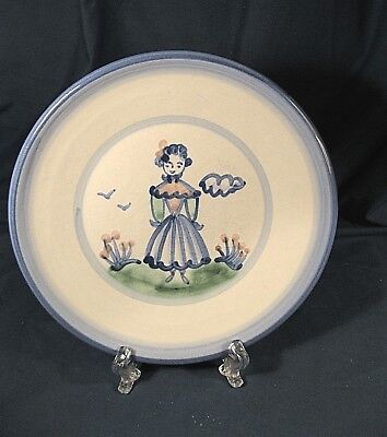 "M A HADLEY SIGNED POTTERY PLATE GIRL with FLOWERS 8"" DIAMETER"