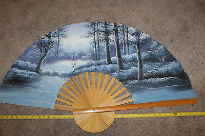 """vintage Huge hand painted Bamboo Fan 40"""" x 24"""" tall beautiful wall decor winter"""