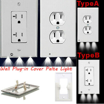 Night Angel Wall Outlet Cover plate Plug Cover With LED Lights Hallway Bathroom