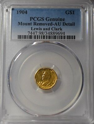 1904 Lewis & Clark $1 Gold Commemorative- PCGS AU Details.  Mount Removed.