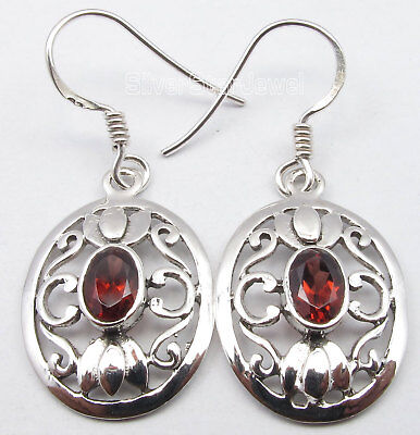 925 Sterling Silver FACETED RED GARNET STUNNING CELTIC JALI Earrings 1 3/8""