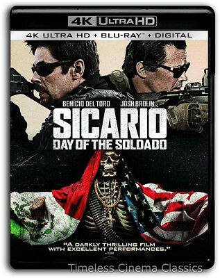 Sicario Day of the Soldado 4K Blu-ray Digital New Benicio Del Toro Josh Brolina