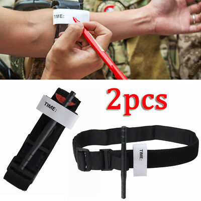 2 Pcs Military Army Red Tip CAT Tourniquet unwrapped Bandage Gloves First Aid