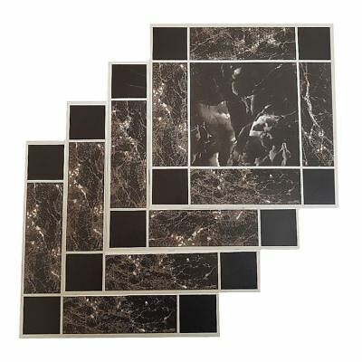 Floor Tiles Self Adhesive Vinyl Flooring Kitchen Bathroom Black Marble Grey