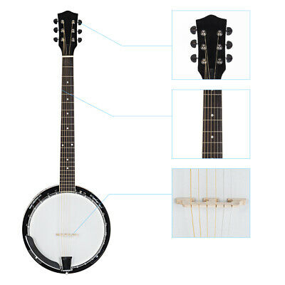 New Hot Student Wood Alloy 6-string White and Dark Golden Banjo High Quality