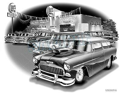 55 Chevy Pro Street Nomad Classic Muscle Car Art Print #1513