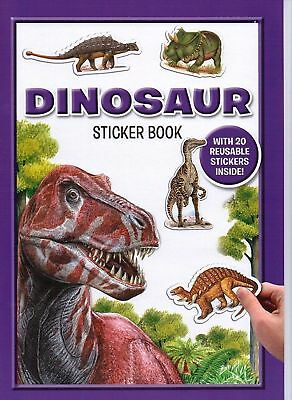 Dinosaur Sticker Pad Kids Book Reusable Stickers T-Rex Fact File Educational 037