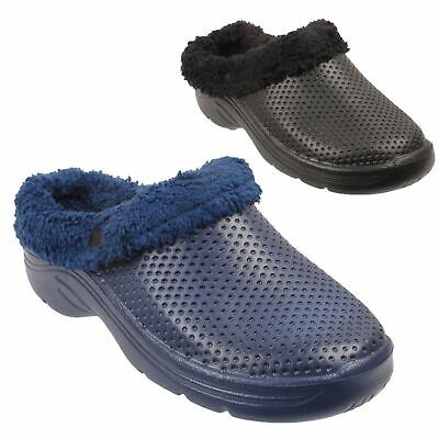 Ladies Fur Lined Clogs Womens Winter Kitchen Slippers Garden Warm Shoes Sizes
