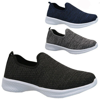 Mens Slip On Get Fit Running Walking Trainers Casual Pumps Shoes Plimsolls Size