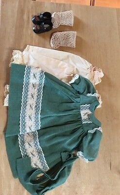 Pretty Age unknown Green Doll Dress, Slip, Pantaloons, Crochet Socks, Shoes