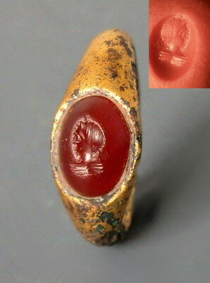 Roman Gilded Bronze Ring With Carnelian Intaglio Of Female Bust (M156)