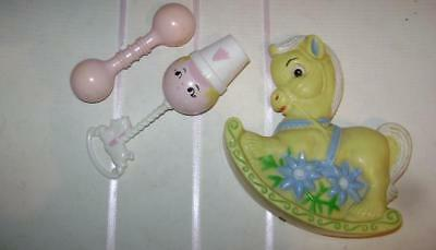 Vintage Lot Of * Baby Rattles Pony Horse Others Hard Plastic 1950's 1960's