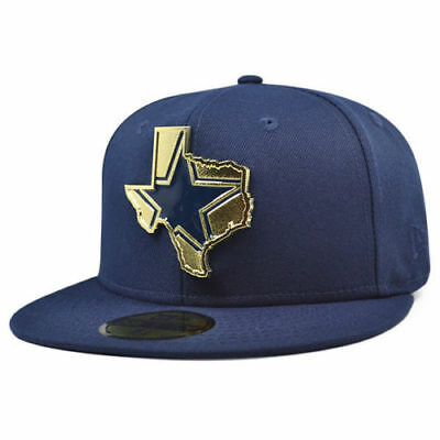 9094f82bc Dallas Cowboys 2018 Nfl New Era 59Fifty Gold Stated Navy Fitted Hat Metal  Logo