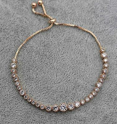 Adjustable Bracelet 18K Gold Filled Big & Small Topaz Zircon Party Hand Chain