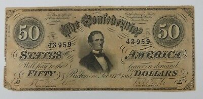 BARGAIN US Confederate Currency February 17, 1864 $50 Note VERY FINE T-66