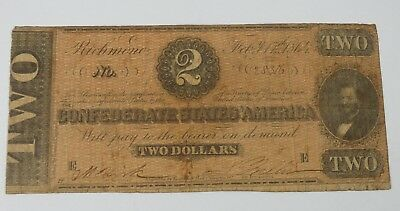 US Confederate Currency Dated February 17th,1864 $2 VERY GOOD T-70