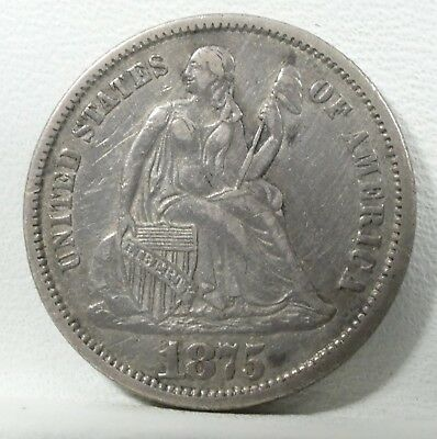1875-CC Liberty Seated Dime Mint Mark below Bow XF Carson City SILVER 10-Cents