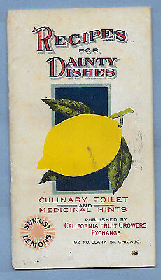 """VINTAGE COOK BOOK RECIPES SUNKIST PREMIUMS 40 pgs VERY CLEAN 1911 3 1/2"""" X 6"""""""