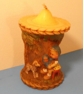 Vintage German Candle Hand Painted  Alpine 1978 HongKong-Mother & Child w Lamb