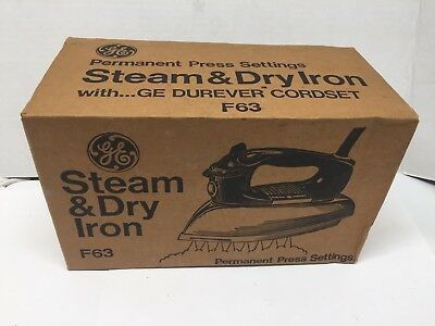 Vintage GE Steam & Dry Iron F-63 NIB Never Opened