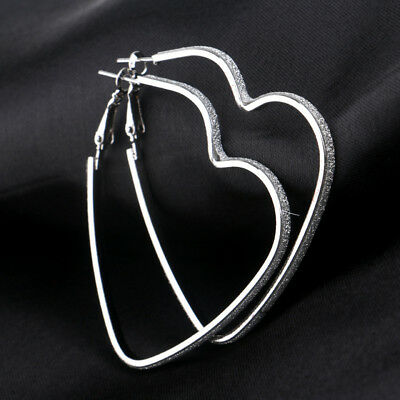 Fashion Women Silver/Gold Tone Rhinestone Love Heart Hoop Earrings Jewelry Z