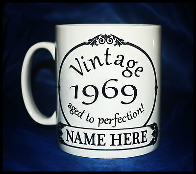 New Vintage 1969 Aged To Perfection Birthday Gift Mug Cup Personalised With Name