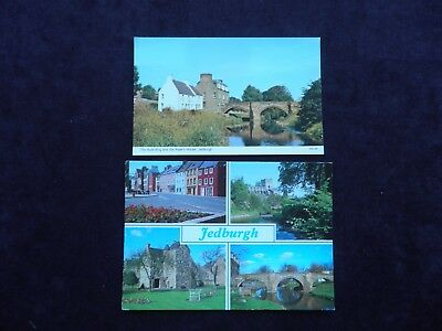 2 Postcards Of Jedburgh, Auld Brig & Piper's House, Queen Mary's House, Abbey