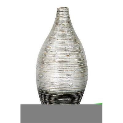 Heather Ann Creations Shiloh 20 in. Spun Bamboo Vase - Distressed Silver & Black