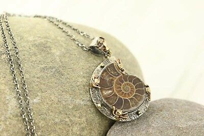 Bora Ammonite Fossil Shell Pendant Necklace Set Bronze Angels Sterling Silver