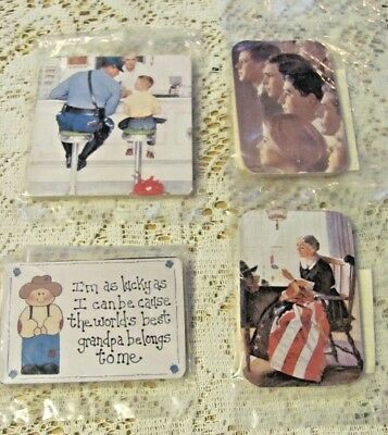Four Magnets 3 Norman Rockwell - John Kennedy, Betsy Ross, Grandpa New Condition