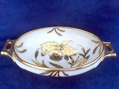 Vintage Stouffer China 'Golden Orchid' Footed Candy Dish