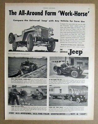 8by11 Original 1947 Jeep Universal Ad The All-Around Farm Work Horse