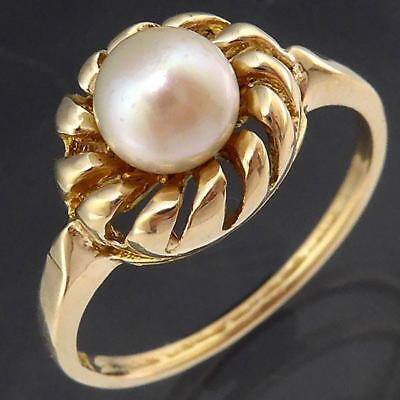 Open Spiral Basket Setting Solid 9k GOLD PEARL SOLITAIRE RING Sz L1/2