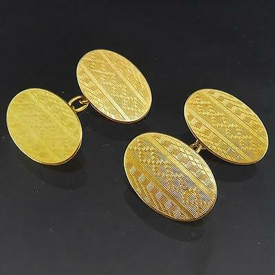 Superior Oval 1929 Art Deco Gentleman's 18k Solid Yellow GOLD CUFF-LINKS mens
