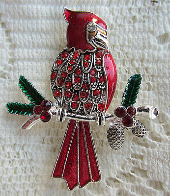Kc Kenneth Cole Red Christmas Cardinal Bird Crystal Brooch Pin Silver Tone