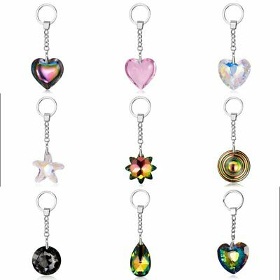 Fashion Peach Heart Water Drop Round Crystal Keychain Keyring Collection Pendant